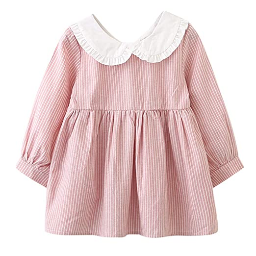 851bc3c1b738 Little Girls Dress,Fineser Girl Long Sleeve Peter Pan Collar Stripe Bowknot  Party Princess Tutu