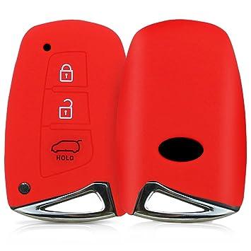 kwmobile Funda de Silicona para Llave Smartkey de 3 Botones para Coche Hyundai - Carcasa Protectora [Suave] de [Silicona] - Case Mando de Auto [Rojo]