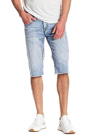 d325e49d4 True Religion Men s Straight Denim Cut-Off Fray Shorts w Midnight Runstitch  In Rocky Mist at Amazon Men s Clothing store
