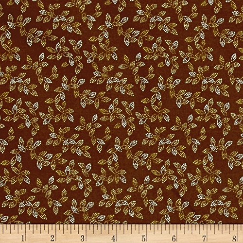 Dotted Fabric - 108in Wide Spangle Quilt Back Dotted Leaf Brown Fabric By The Yard
