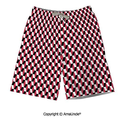 Personalized Beach Shorts Boardshorts for Men,Geometric Cube Prisms Flat Ornamen