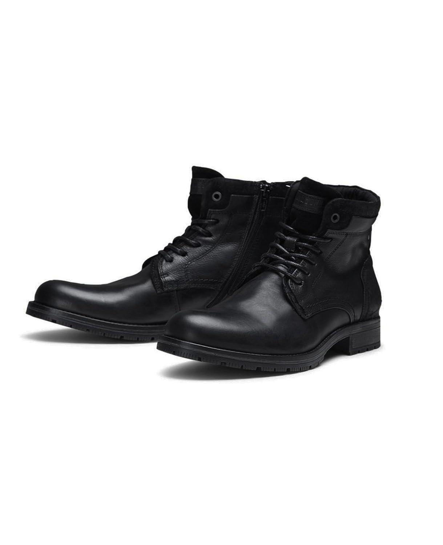 JACK & JONES Lederstiefel jfwHANIBAL Leather Herren SchnürStiefel Stiefel Leder Stiefel Stiefeletten Combat Stiefel