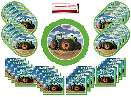 Tractor Time Party Supplies Bundle Pack for 16 guests (Bonus 17 Inch Balloon Plus Party Planning Checklist by Mikes Super Store)