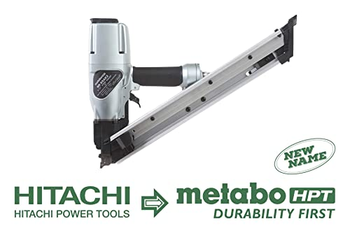 Metabo HPT Positive Placement Nailer, Pneumatic, Accepts 1-1 2 and 2-1 2 Nails, Metal Connector, Strap-Tite Fastening System, NR65AK2