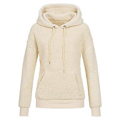 bd44446034 Viahwyt Women s Soft Warm Wool Teddy Sherpa Fleece Hooded Sweatshirt  Drawstring Pocket Hoodie Pullover Winter Thick Outerwear  Amazon.co.uk   Clothing