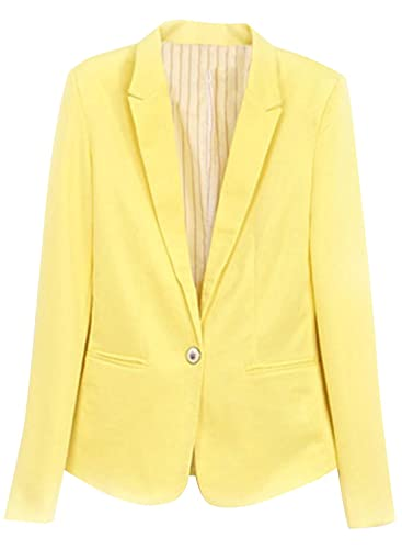 ACHICGIRL Women Refined Candy Color Blazer Foldable Sleeve Outwear Jacket Suit