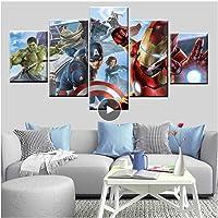HNFSSK 5 Panel Poster Imagen Superhéroe Avenger League Capitán Hulk Pintado sobre Lienzo para La Habitación De Los Niños Bed Head Wall Art Decoración