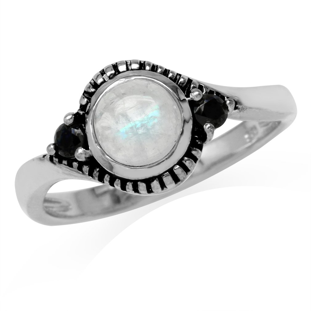 Natural Moonstone & Black Spinel 925 Sterling Silver Bali/Balinese Style Ring Size 8