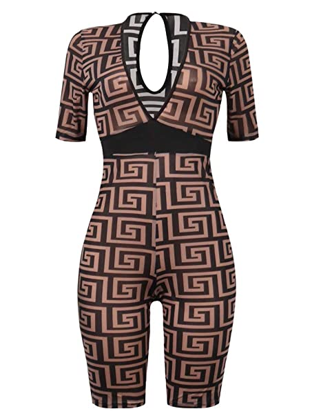 310aa2f6c9a5 Amazon.com: Women Two Piece Outfit Halter Print Sport Bra Crop Top Legging  Short Pant Set with Headband: Clothing