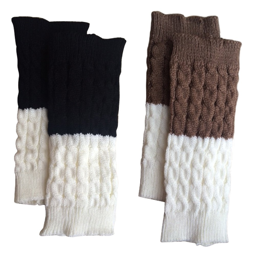 Lucky Love (TM) Reversible, Double Sided Boot Cuffs for Women, Cute Boot Toppers (Black/Cream + Mocha/Cream)