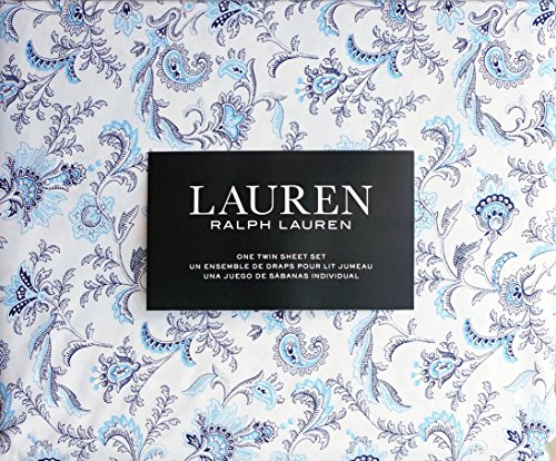 Lauren Ralph Lauren 3 Piece Cotton Twin Sheet Set Navy Blue and Light Blue Floral Floating Paisley Boteh Pattern on White