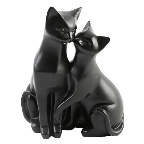 Adornos para Gatos, diseño de Gatos Blancos, Regalo Ideal para los Amantes de los Gatos, Resina, Negro, 21 x 16 x 12cm