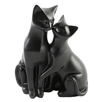 Adornos para Gatos, diseño de Gatos Blancos, Regalo Ideal para los Amantes de los Gatos, Resina, Negro, 21 x 16 x 12cm: Amazon.es: Hogar