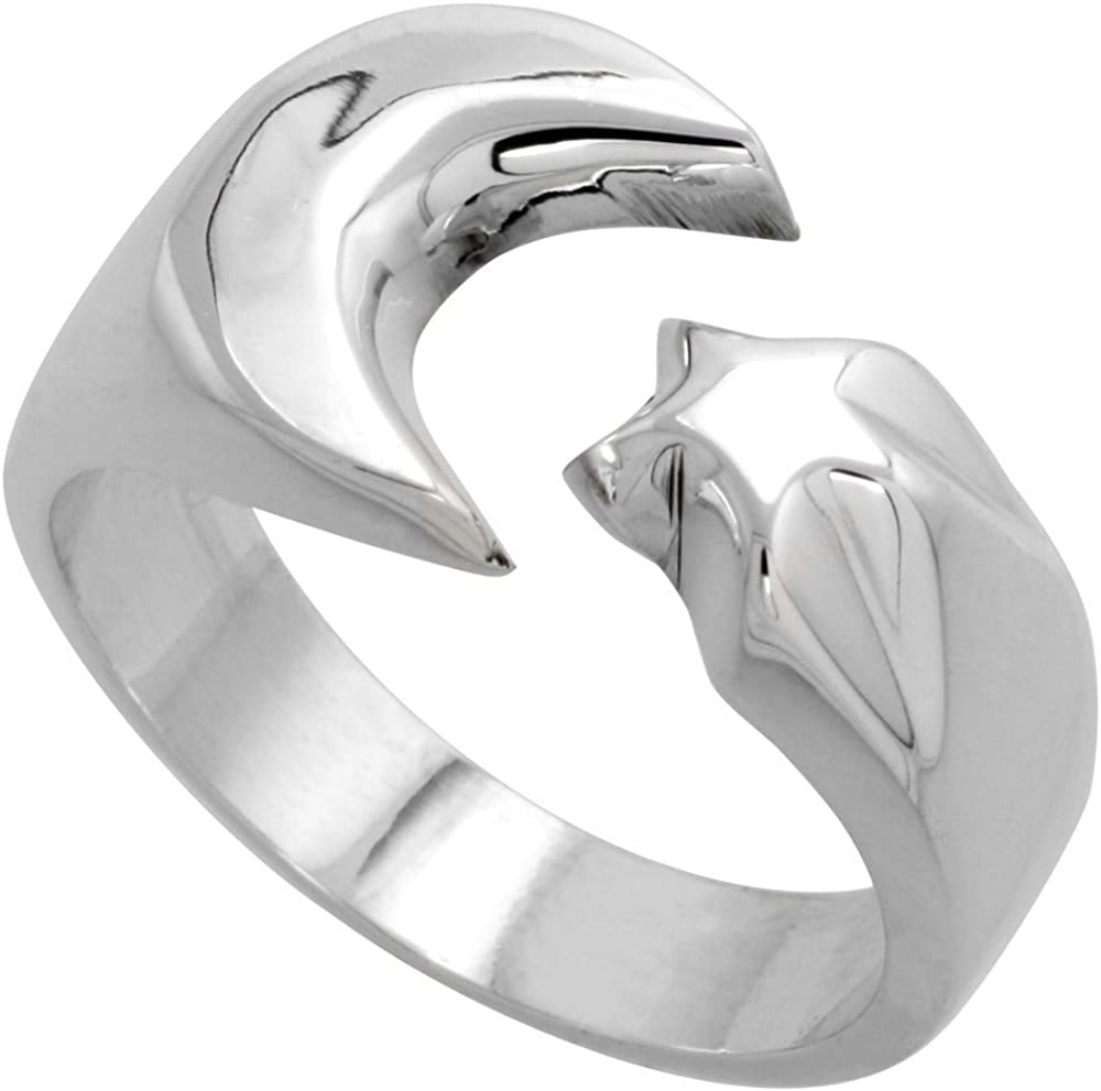Sterling Silver Crescent Moon Star Ring Handmade Wide Brand new 2 1 inch Dallas Mall