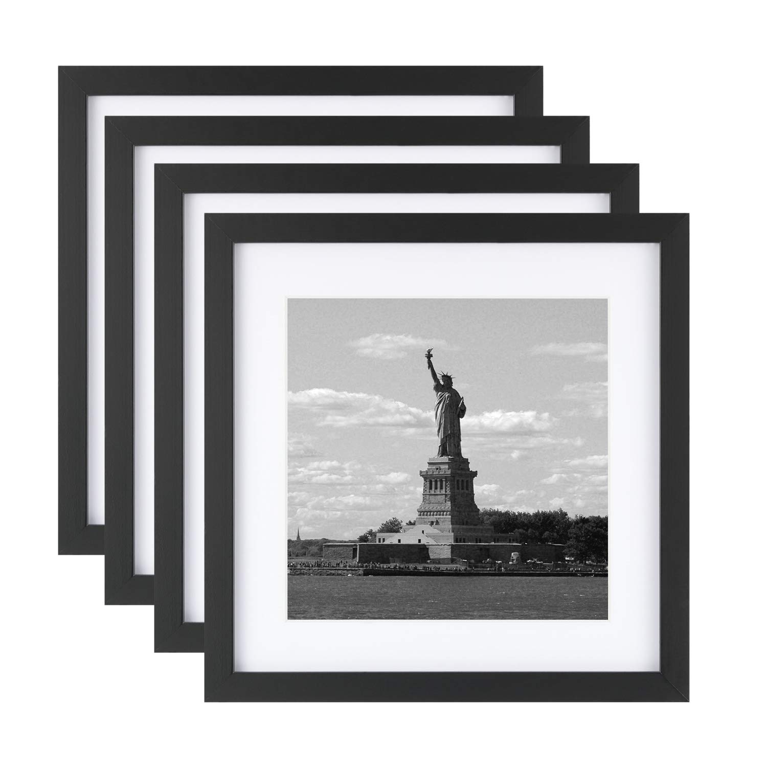 ONE WALL Tempered Glass 4PCS 11x11 Picture Frame with Mats for 8x8 Photo, Black Wood Frame for Wall and Tabletop - Mounting Hardware Included