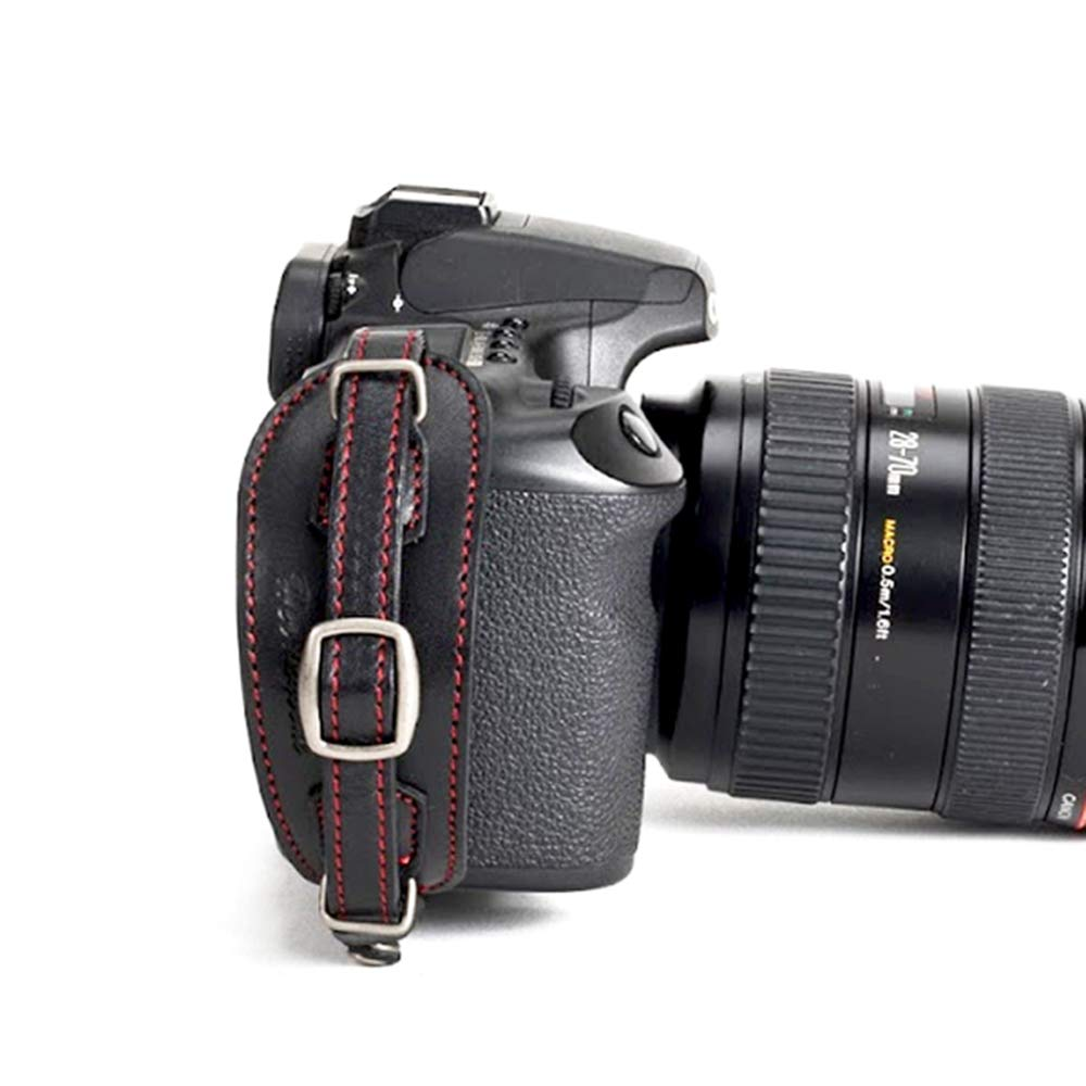Herringbone Heritage Leather Camera Hand Grip Type 1 Hand Strap for DSLR with Multi Plate, Black with Red Stitching