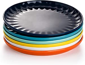 Sweese 160.002 Porcelain Inner Fluted Dinner Plates - 10 Inch - Set of 6, Hot Assorted Colors