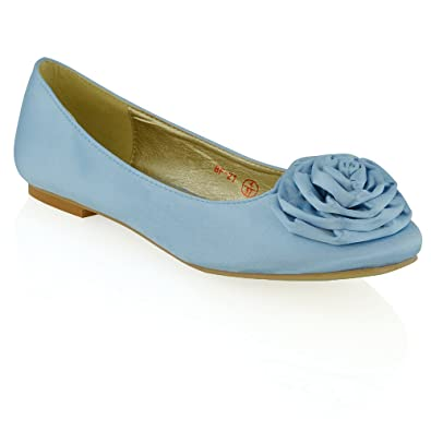 ESSEX GLAM Womens Flat Slip On Flower Detail Bluebell Satin Bridal Ballerina Pumps 5 B(