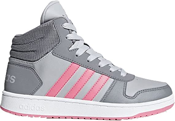 adidas Baskets Hoop 2.0 Gris Rose Fille: