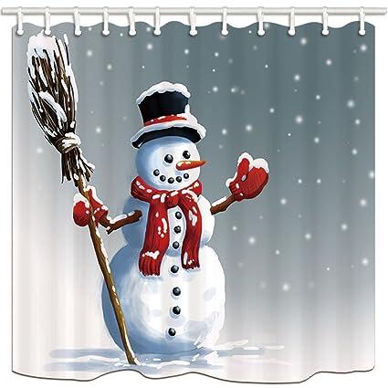 KOTOM cortinas de ducha de tela de Navidad, tema de la temporada de invierno muñeco de ...