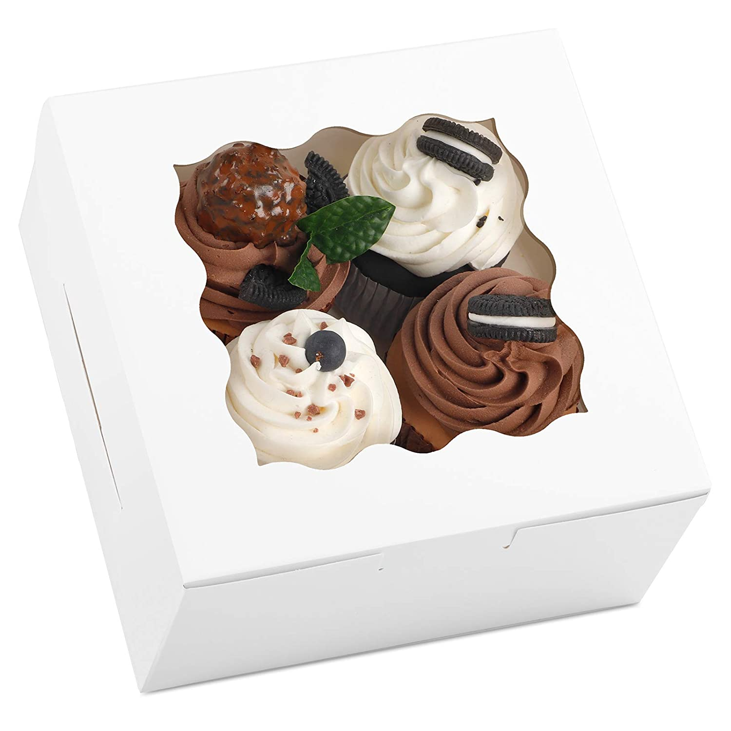 Moretoes White Cookie Boxes 6x6x3 Inches 20pcs with Window White Bakery Boxes Pastry Boxes Cupcake Boxes