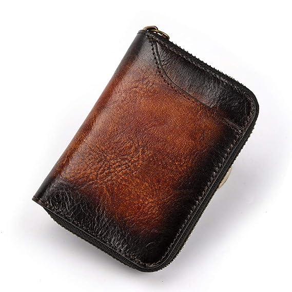 Men Vintage Genuine Leather Wallet Cowhide Phone Case Card Holder Zipper