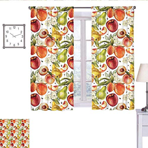 edroom Curtains Harvest Time in Organic Country Garden with Pears Apricots Blossoms Generous Nature Short Curtain Multicolor W72 x L45 ()