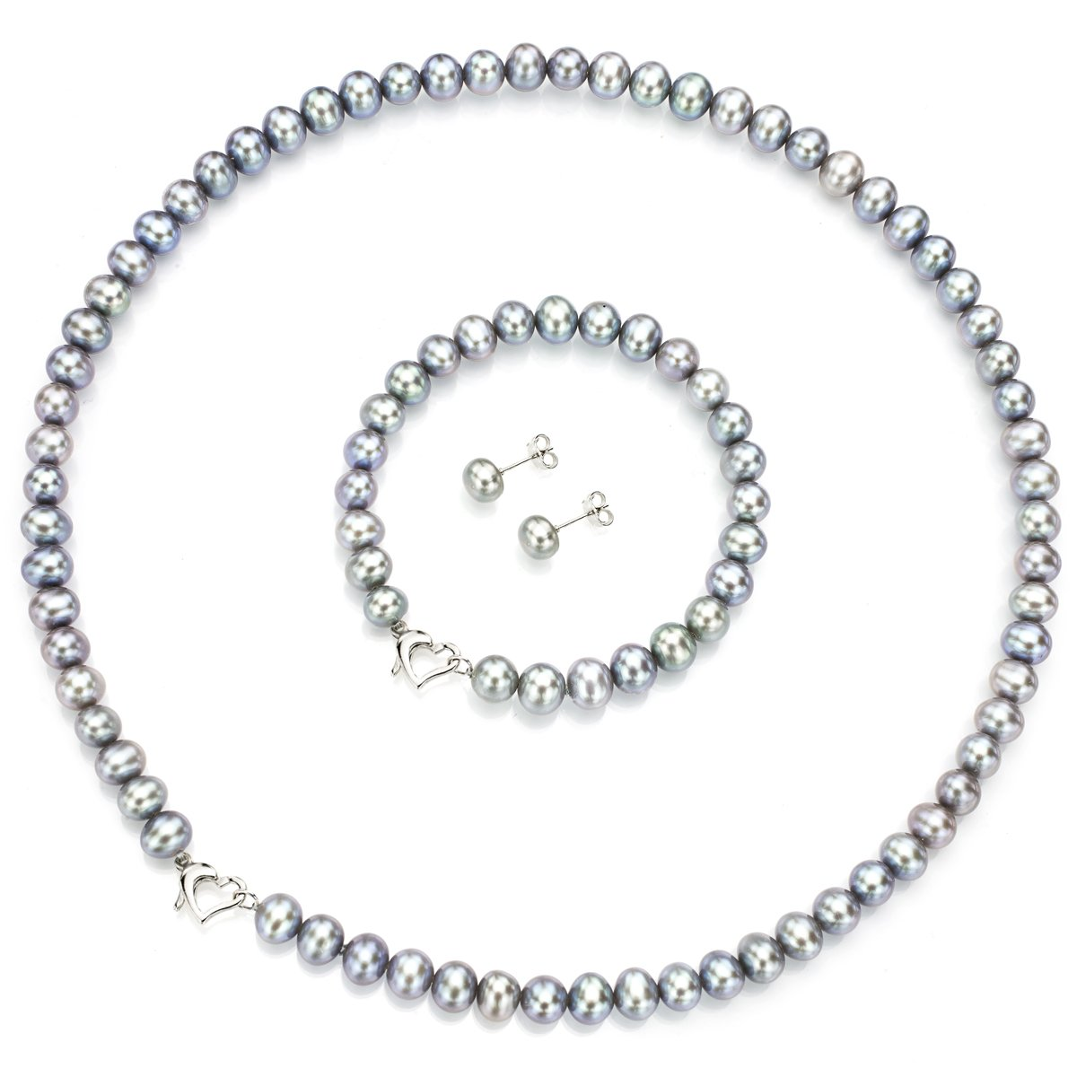 Heart Shape Sterling Silver 6-6.5mm Dyed-grey Freshwater Cultured Pearl Jewelry Set