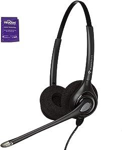 Plantronics HW261n Wired Office Headset Bundle with Headset Advisor Wipe (Renewed)