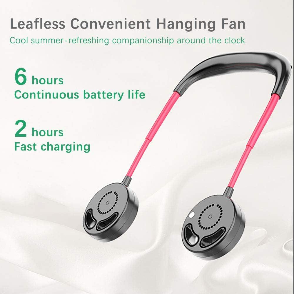 Huahua Ventilador Port/áTil para Colgar El Cuello,USB Manos Libres Abanico Plegable Sin Hojas,Doble Cabezal De Viento Silencioso,con 3 Configuraciones,para Correr Al Aire Libre Viajes Deportivos