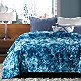 Chanasya Faux Fur Bed Blanket   Super Soft Fuzzy Light Weight Luxurious Cozy Warm Fluffy Plush Hypoallergenic Throw Blanket for Bed Couch Chair Fall Winter Spring Living Room (Queen)- Blue