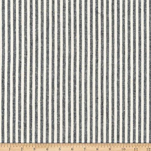 - Robert Kaufman 0568605 Kaufman Essex Yarn Dyed Classic Wovens Linen Stripes Black Fabric by The Yard