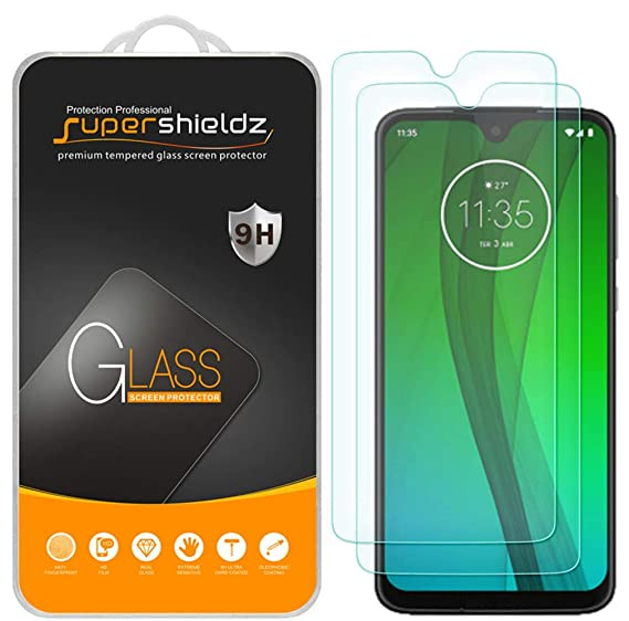 [2-Pack] Supershieldz for Motorola (Moto G7 Plus) Tempered Glass Screen  Protector, Anti-Scratch, Bubble Free, Lifetime Replacement