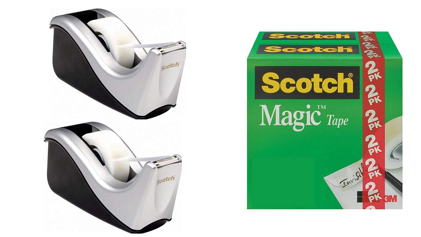 Scotch Desktop Tape Dispenser Silvertech 9WLJY, Two-Tone, 2 Dispensers with 2 Rolls Magic Tape
