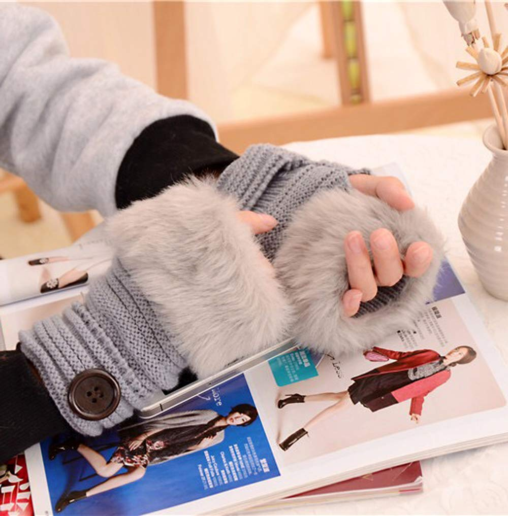 Amazon.com: 2 Pairs Knitted Button Fingerless Warm Mittens ...
