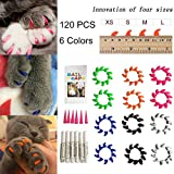 Cat Nail Caps 120PCS Soft Rubber Pet Paws Claws Nail Covers 6 Colors with Glue and Applicators - Options of 4 Size (M)
