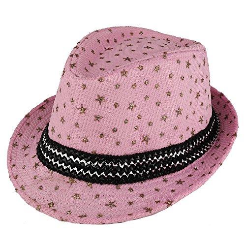 Trendy Apparel Shop Kid's Glitter Star Print Fedora Hat with Metallic Hat Band - Pink
