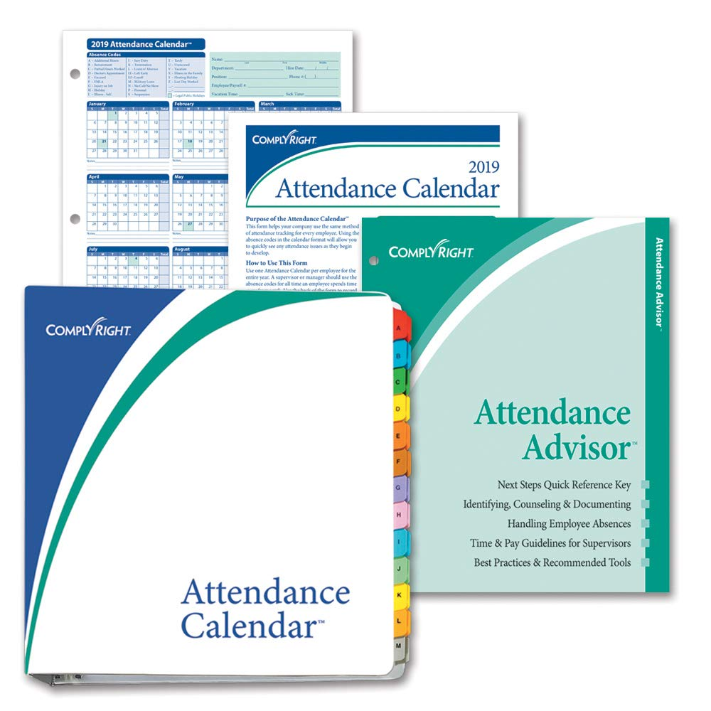 amazoncom complyright 2019 attendance calendar kit white pack of 25 office products