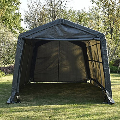UHOM 10x15x8ft Outdoor Tent Instant Garage Auto Storage Shed Shelter Steel Canopy Carport Gray