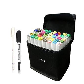 Amazoncojp 40色 マーカーペン イラストマーカー 2種類のペン先 太字