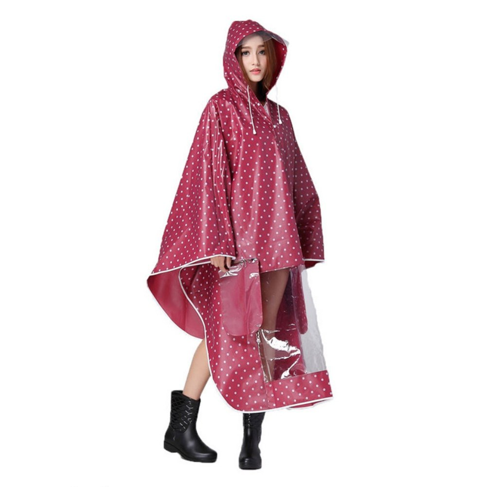 ITODA Cycling Rain Poncho Reusable Motorcycle Scooter Reflective Waterproof Extra Large Hoodie Bike Raincoat with Drawstring and Transparent Brim Cape by ITODA