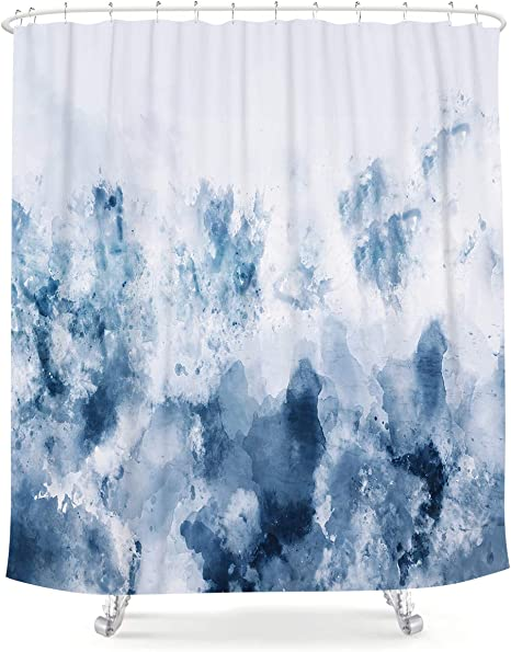 Amazon Com Lightinhome Abstract Watercolor Blue Shower Curtain Silver Gray Cold White Modern Art Painting Fabric Waterproof Bathroom Home Decor Set 72x72 Inch 12 Plastic Hooks Kitchen Dining