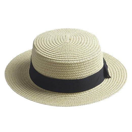 Elee Children Girls Straw Bowler Derby Hat Round Flat Brim Caps (Beige) 58f0251fd848