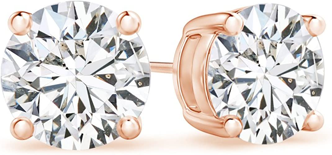 Solitaire Stud Earrings 14K Rose Gold Over .925 Sterling Silver 10MM SVC-JEWELS 4.80 CT Round Cut Diamond