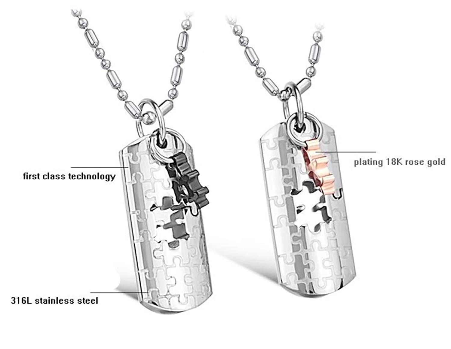 MoAndy Necklace Chain Stainless Steel Couples Pendant Necklaces Hollow Rectangle Puzzle Black Gold