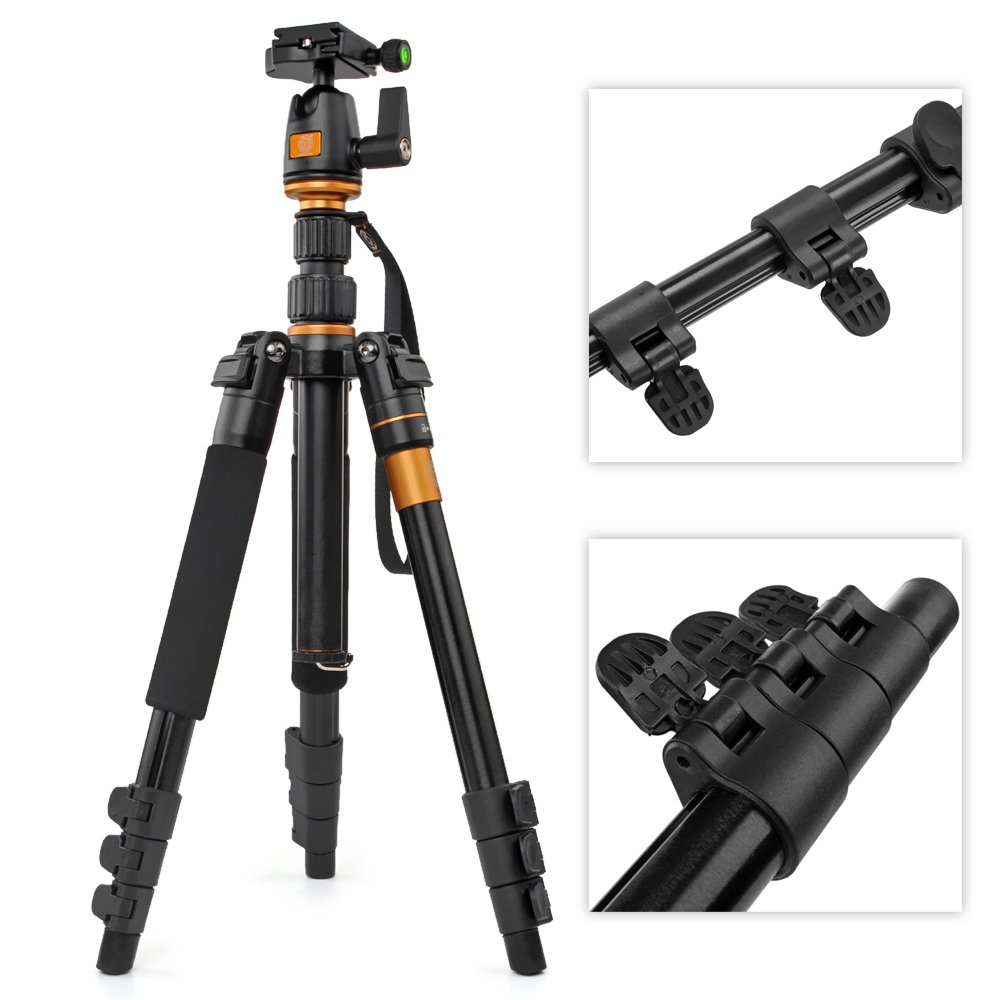 Flexzion DSLR Camera Tripod - Professional Q555 Portable Travel Compact Monopod With Ball Head Adjustable Legs Magnesium Aluminium For Digital Canon Nikon Sony Olympus Pentax Stand Holder