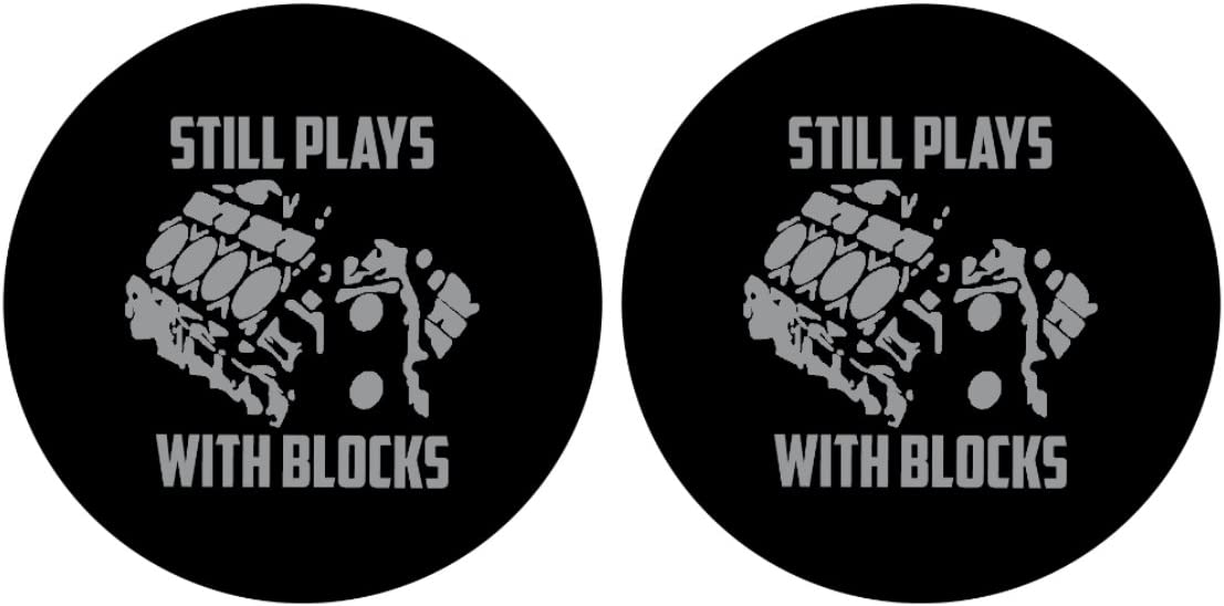 Pair of Still Plays With Blocks Car Coasters! Funny Gift for the Mechanic or Car Enthusiast! Highly Absorbent for any car cup holders! (2pcs)