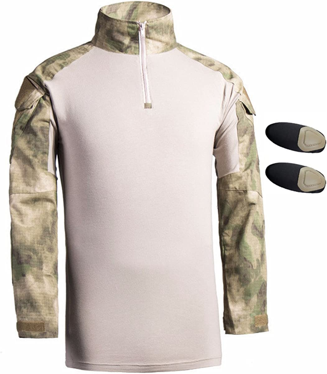 Hombres Airsoft Militar Táctico Camisa Largo Manga Delgado Ajuste Camuflaje Combate Camo Camisetas con Almohadillas de Codo Gobi Woodland Small: Amazon.es: Ropa y accesorios