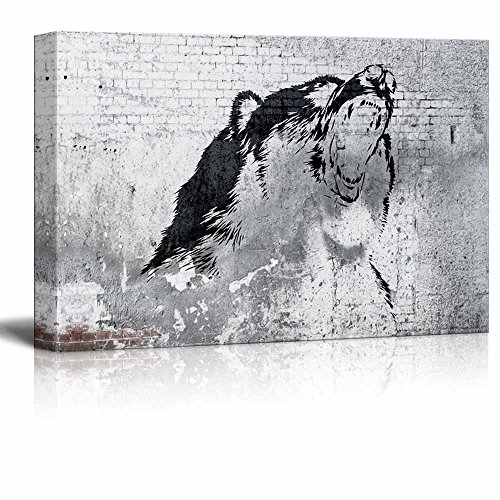 Wolf Painting on Shabby Wall