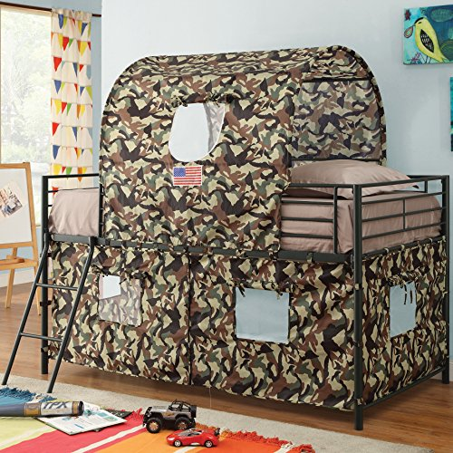 Bunk Bed With Ladder - Standard Stylish Tent Loft Camouflage Furniture For Kids Children Boys